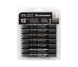 Winsor & Newton BrushMarker Set 12 Greys (12 gråfarger)