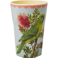Rice Mugg Latte Melamin Vintage Parakeet Print Cream