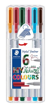 Triplus® fineliner 6-pack, i STAEDTLER-box, 0,3 mm fiberspets. Nature