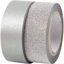 Designtape, B: 15 mm, 2 rl., sølv