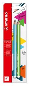 Blyertspenna Stabilo Trio Thick HB Blå + grønn 2st
