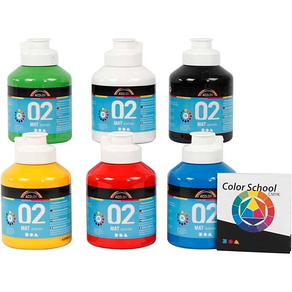 A-Color akrylmaling - fargeskole, primærfarger, 02 - matt (plakatfarge), 6x500ml