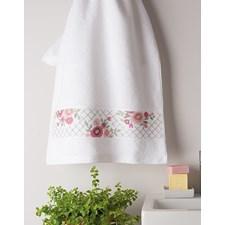 Broderi Handdukar i 2-pack med blomsterbård set 50 x 100 cm