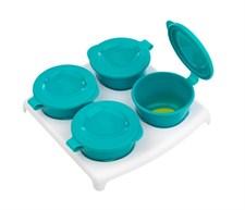PopUp Freezer Pots & Tray, Blå/Grön, Tommee Tippee
