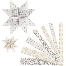 Stjernestrimler, B: 15+25 mm, dia. 6,5+11,5 cm, hvit, gull, metallfolie, 48strimler, L: 44+78 cm