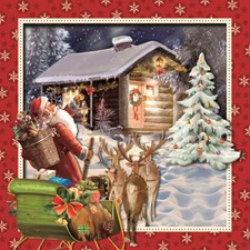 Julkort dubbelt 3D kvadrat Tomte vid stuga
