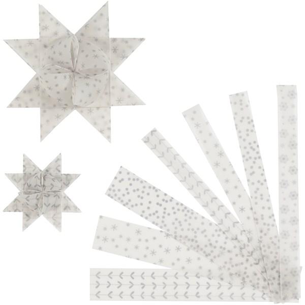 Stjernestrimler, B: 15+25 mm, dia. 6,5+11,5 cm, hvit, sølv, vellum, 48strimler, L: 44+78 cm