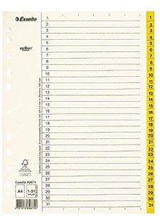 Pappregister 1-31 A4 Gul