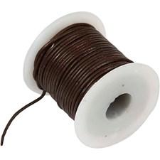 Lærsnøre, tykkelse 1 mm, 10 m, brun