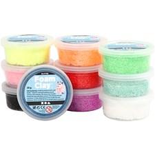 Foam Clay, mixade färger, glitter, 10x35g
