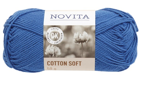 Novita Cotton Soft Bomullgarn 50 g, himmel 124