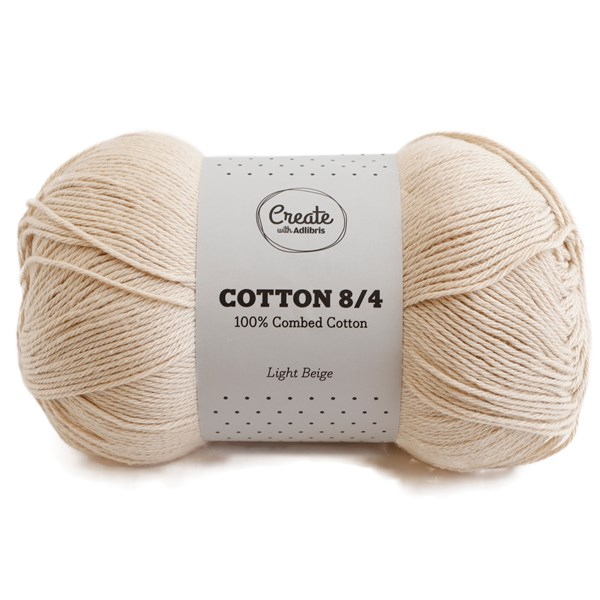 Adlibris Cotton 8/4 Garn 100g Light Beige A175