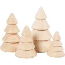 Juletrær, H: 3,3+4,3+5,3+6,3 cm, dia. 2,3+3+3,2+4 cm, keisertre, 4stk.