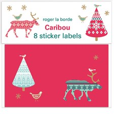 Etikettejä joululahjoihin Caribou Red Roger la Borde 10 x 6cm 8-pakkaus