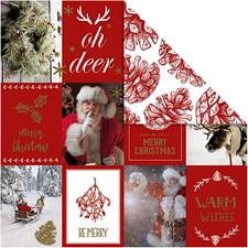 Kuviopaperi, arkki 30,5x30,5 cm,  180 g, kulta, punainen, jouluaiheet ja kävyt, 3ark