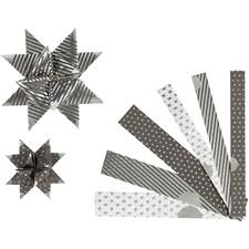 Stjernestrimler, B: 15+25 mm, dia. 6,5+11,5 cm, sølv, svart, metallpigger, 48strimler, L: 44+78 cm