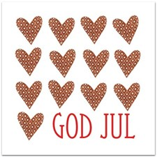 Julkort med Kuvert 12,5x12,5 cm Många Pepparkakshjärtan