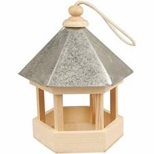Fuglematehus med zinktak, str. 22x18x16,5 cm, 1 stk., furu