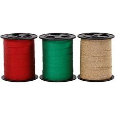 Gavebånd, B: 10 mm, grønn, gull, rød, glitter, 3x15m