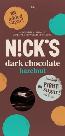 NICK´S Choklad Mörk Hasselnöt 75 g