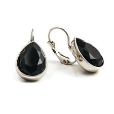 Glam teardrop Örhängen, Black silver