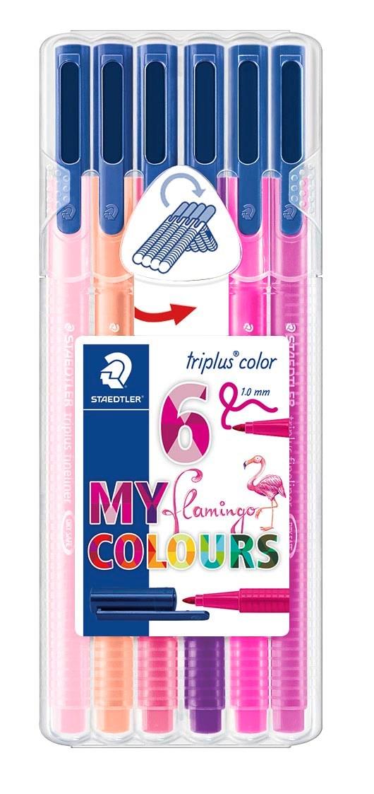 Triplus® color 6 kpl, STAEDTLER-paketissa, 1 mm kuituterä. Flamingo