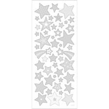 Tarrat, arkki 10x24 cm, n. 52 kpl, hopea, tähdet, 1ark