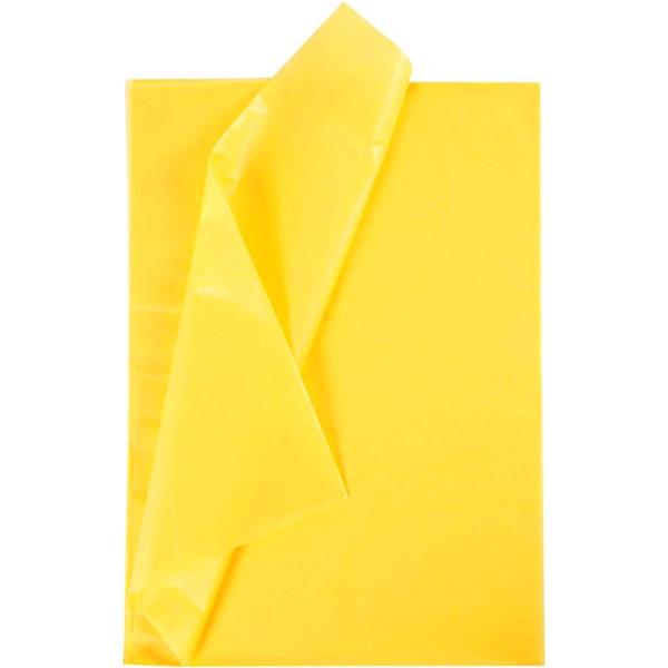 Silkkipaperi, arkki 50x70 cm, 19 g, 25 ark, keltainen
