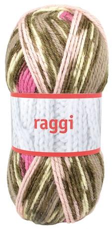 Raggi Garn Ullmix 100g Rosa/Beige Glitter Print (15135)