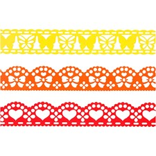 Spets Papper Bredd 15 mm 3x2 m Gul/Orange/Röd
