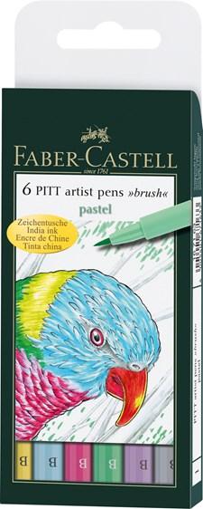 Faber-Castell Pitt Artist Pen Penselspiss Etui 6 Pastellfarger