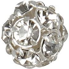 Perle med rhinsten, dia. 10 mm, hullstr. 1 mm, 2 stk., forsølvet