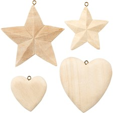 Hjerte og stjerne, 4stk.