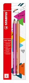 Blyertspenna Stabilo Trio Thick HB Pink + Orange 2-pack