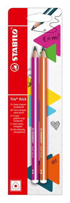Blyertspenna Stabilo Trio Thick HB Pink + Orange 2st