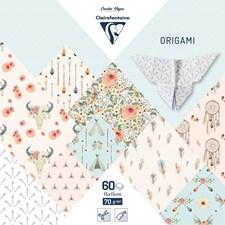 Origami Papper, 60 ark 15x15 cm - Boheme chic