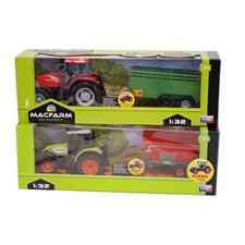 Traktor med vagn,Grön