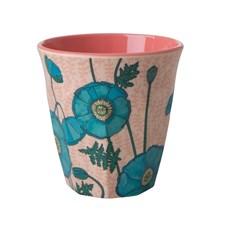 Rice Blue Poppy Print Mugg H: 9 cm Melamin