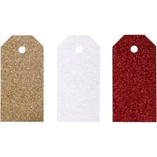 Pakettietiketit, koko 5x10 cm,  300 g, valkoinen, kulta, punainen, 12kpl