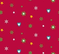 Bomullstyg Jul/Hjärta 50x160 cm Röd