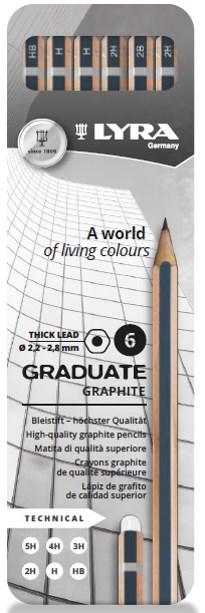 Lyra Graduate Graphite 6-pack Artist Grafitpennor
