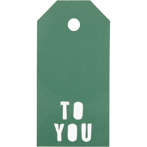 Pakettietiketit, koko 5x10 cm,  300 g, vihreä, TO YOU, 15kpl