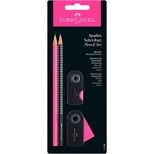 Sparkle Set blyant + viskelær + blyantkvesser, Rosa/svart
