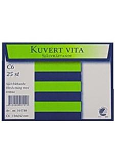 Kirjekuori myyntipakk. C6 valkoinen tarrakiinnitys (25 kpl)