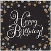 Happy Birthday, guldiga servetter, 16 st
