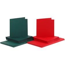 Kort og konvolutter, kort str. 15x15 cm, konvolutt str. 16x16 cm, grønn, rød, 50sett
