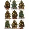 Glansbilder, ark 16,5x23,5 cm, juletrær, 3ark