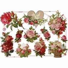 Glansbilder, ark 16,5x23,5 cm, roser, 3ark