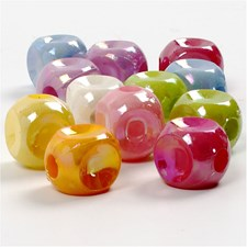 Plastpärlor Tärningar 10x10 mm Olika Färger 125 ml