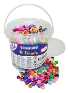 Plastperler i bøtte, Kongoperler, 1000 stk., Playbox